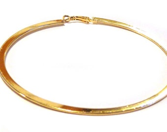 LARGE 3.75 inch Hoop Earrings Shiny Plated Gold Tone Brass Hoop Earrings Solid Hoop Earrings