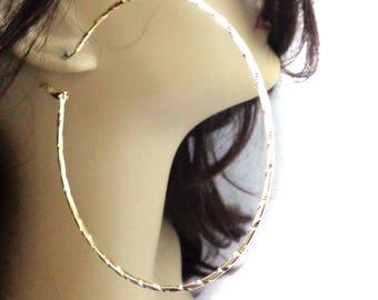 LARGE 3.5 inch Hoop Earrings Shiny Plated Gold Tone Textured Hoop Earrings