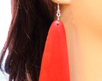 BOHEMIAN EARRINGS Long Earrings  Wood Earrings Red Earrings Lightweight 5.5 inch long