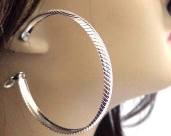 Silver Hoop Earrings Thick Silver tone Textured Hoop Earrings 2.5 inch Hoops Hypo-Allergenic