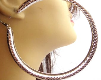 LARGE 4 inch Silver Shiny Pipe Round Hoop Earrings Silver Tone Large Hoop Earrings