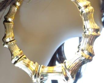 VINTAGE BAMBOO HOOP earrings Gold Plated Hoop Earrings 18kt Gold Plated Hoops 3.5 inch Hoops