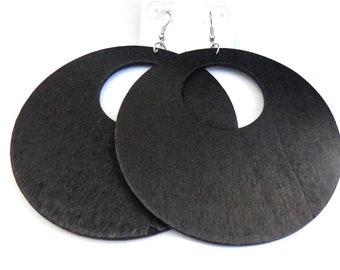 Wood Hoop Earrings Etsy