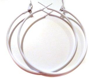 2.25 inch Hoop Earrings White Hoop Earrings Classic Thin Hoop Earrings