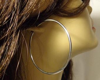 STAINLESS STEEL HOOP earrings hypo allergenic Hoop Earrings Silver Color  2.25 inch Hoops