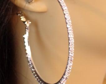 Crystal Hoop Earrings Thin Cast Silver Tone Rhinestone Hoops Earrings 2 inch hoops