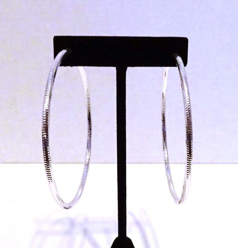 Clip-on Earrings Hoop Earrings Rhodium Silver Plated image 0