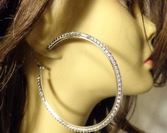 LARGE CRYSTAL HOOP Earrings Silver Tone 3 inch Rhinestone lined hoops