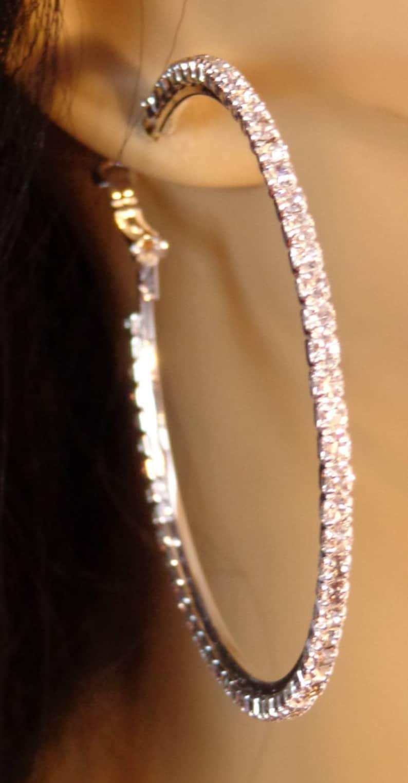 LARGE 2.75 inch Crystal Line Hoop Earrings Thin Cast Silver Tone rhinestone Hoops Earrings Rhodium Plated Hoops