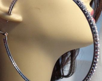 LARGE CRYSTAL HOOP Earrings Silver Tone 4 inch Rhinestone hoops Rhodium Plated Hoop Earrings