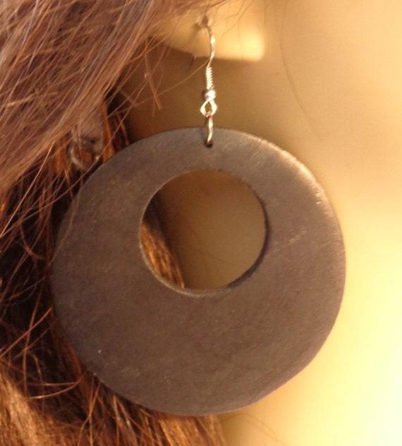 Bohemian Wood Hoop Earrings Black Wood Earrings Lightweight Etsy