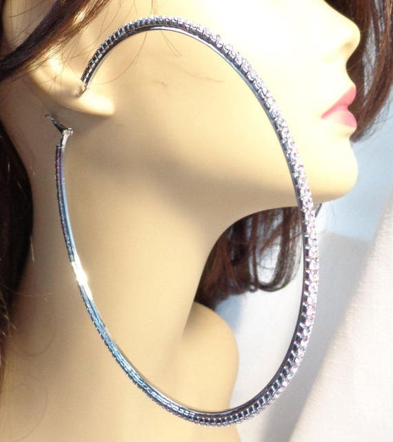 719a217e8d0a LARGE CRYSTAL HOOP Earrings Silver Tone 4 inch Rhinestone