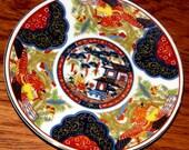 Japanese Imari Fantastic Bird Motif Plate - Oriental Collectible Hand Painted Porcelain - Authentic Japanese Antique Porcelain plate
