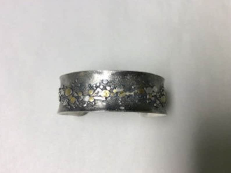 Riverbed Series Cuff Bracelet in Silver and Gold accents