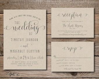 Printable Fun Wedding Invitation, RSVP and OPTIONAL Reception Card-Print Yourself-Digital File