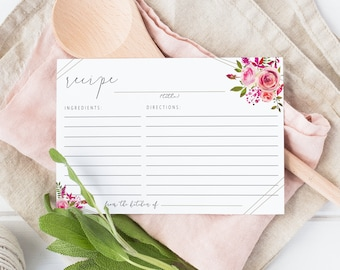 Instant Download Recipe Cards Pink Roses