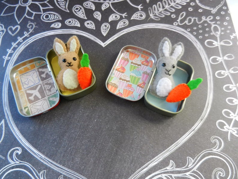 Mini Altoid Tin Felt Pocket Bunny Softie Plushie Friend image 0