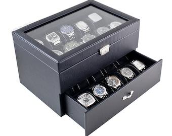 Personalized Black Watch Box - Holds 20 Watches, Watch Case, Watch Organizer, Watch Storage, Engraved, Monogram, Custom Designs For Men