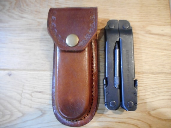 Custom Brown leather sheath Holds a Leatherman Super tool 300 or similar large