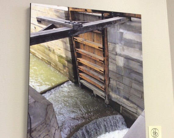 Canvas Wrap Art Print  Photography Erie Canal Lockport Fight of Five Boating