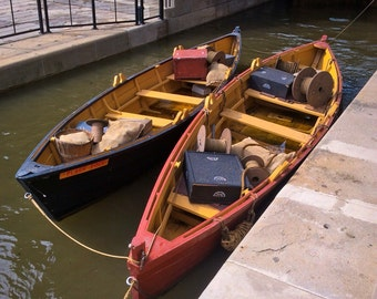 """'Bateaux in the Lock"""" Erie Canal Lockport Fight of Five"""