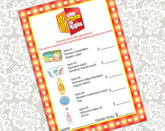printable the price is right baby shower unisex game card instant download