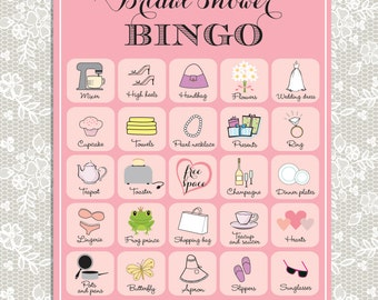 printable bridal shower bingo 20 unique game cards in pink instant download