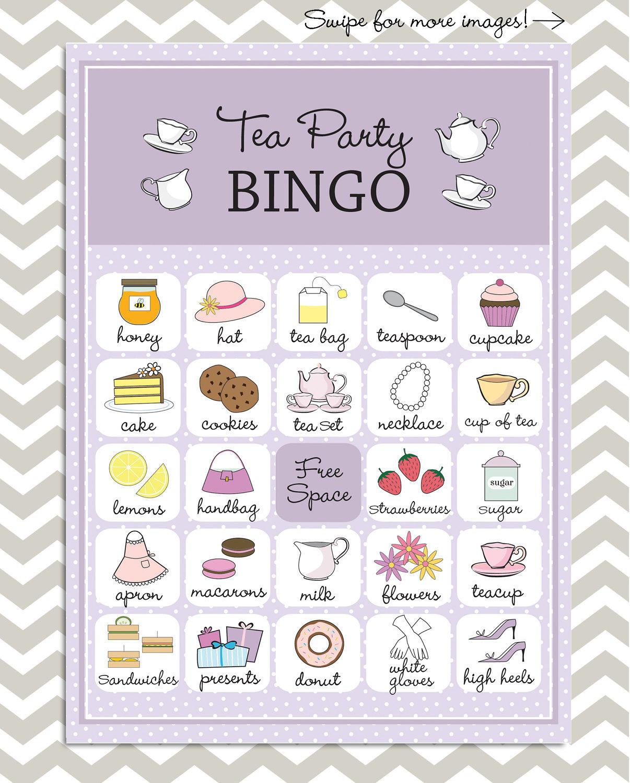 Tea Party Bingo in purple, 20 unique game cards, Printable Instant download!