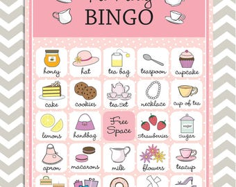 Tea Party Bingo cards in pink, 20 unique game cards, Printable Instant download!