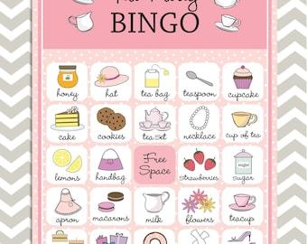 Tea Party Bingo in pink, 20 unique game cards, Printable Instant download!