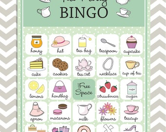 Tea Party Bingo cards in mint green, 20 unique game cards, Printable Instant download!