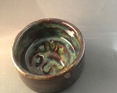 Small Paw Print Pet Bowl in variegated whirls of coper and green, Volcano shape, bohemian, holds 8 FL Ounces– Made by blind ceramic artist