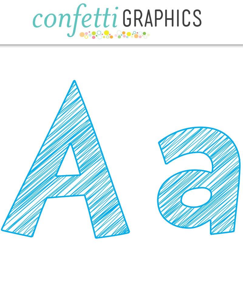 Scribble Alphabet Blue Clip Art 74 Uppercase Lowercase | Etsy