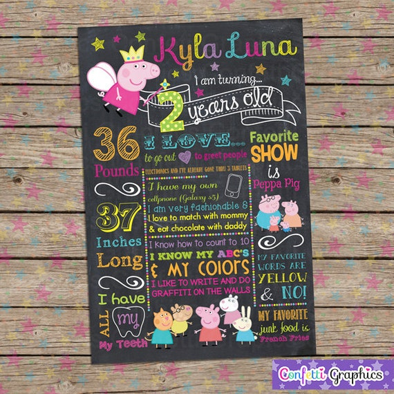 peppa pig chalkboard birthday sign board 1st birthday etsy