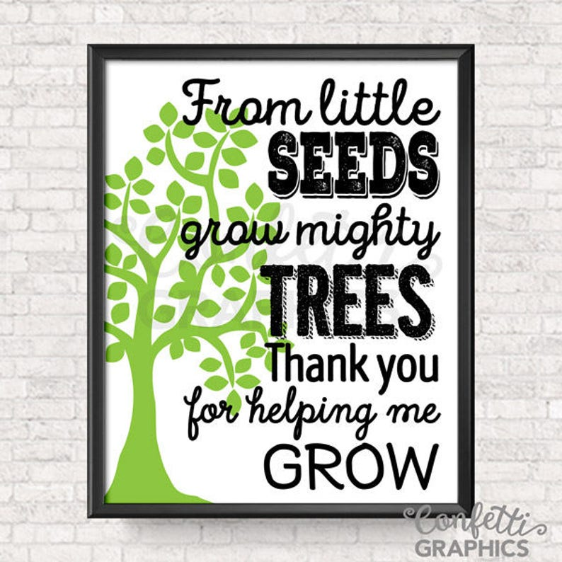 From Little Seeds Grow Mighty Trees Chalkboard Quote Mother Etsy