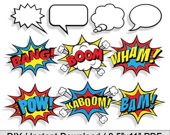 Comic Book Sound Effects Speech Bubbles Superhero Photo Booth Prop Party / Wall Decor / DIY Printable / INSTANT DOWNLOAD