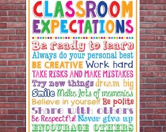 Classroom Expectations Rules Teacher Appreciation Sign Poster School Classroom Chalkboard Chalk Subway Wall Art 8x10 & 16x20