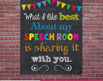 Speech Teacher Sign What I like Best about my Speech Room Motivational Chalkboard, Wall Art Decor, Apperciation, Classroom, Digital Download