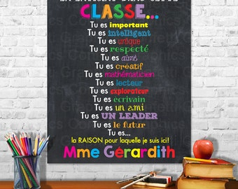 French Français When You Enter This Classroom Rules Teacher Appreciation Sign Poster Inspirational Classroom Chalkboard w/ Custom Name