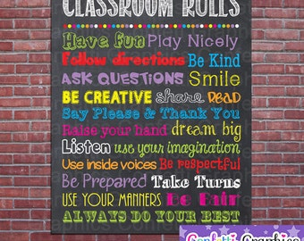 Classroom Rules Teacher Appreciation Sign Poster School Classroom Chalkboard Chalk Subway Wall Art