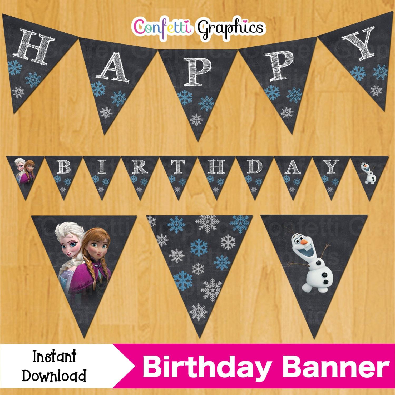 Frozen Chalkboard Birthday Banner Anna Elsa Olaf Bunting Flags | Etsy