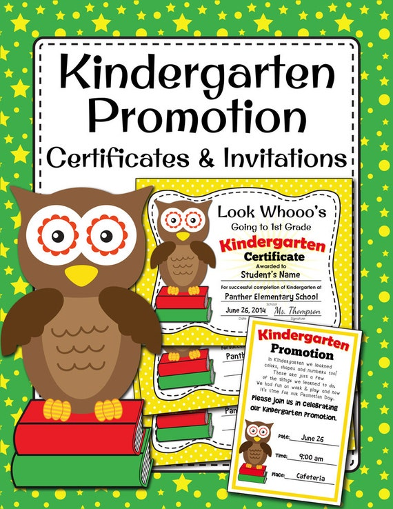 Kindergarten Promotion Certificates And Invitation Cute Owl Etsy