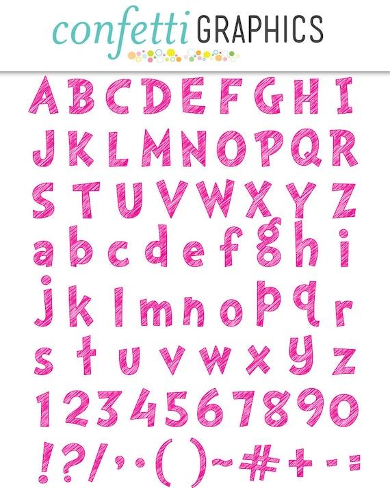 Scribble Alphabet Pink Clip Art 74 Uppercase Lowercase Etsy