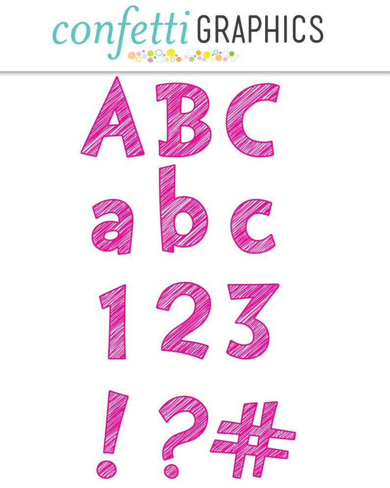 Scribble Alphabet Pink Clip Art 74 Uppercase Not Font Symbols High Quality Tansparent PNG Digital Elements Lowercase Letters Numbers