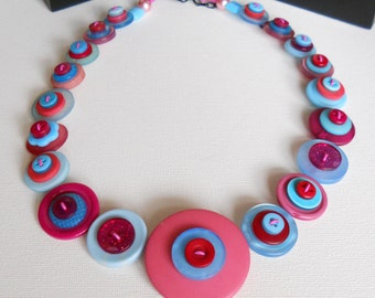 Button Necklace, Button Jewellery, Statement Necklace, Pink Necklace, Aqua Necklace, Unique Necklace, Handmade Necklace, Quirky Necklace