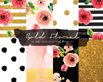 Floral digital paper - Watercolor background - floral background - Digital scrapbook paper - Floral planner - Fashion paper - Floral fashion
