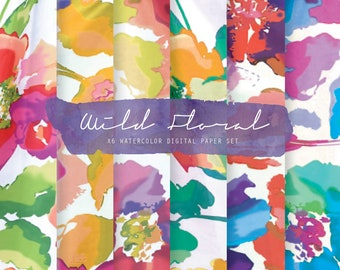 Spring Floral paper - Watercolor floral digital paper - Floral background - Flower Planner paper - Floral digital paper - Floral wallpaper
