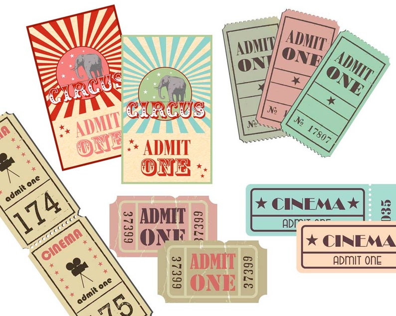 Movie Clipart Cinema ticket  Vintage ticket clipart Film clipart Movie planner stickers Circus clipart Admit one DIY Cinema ticket Party