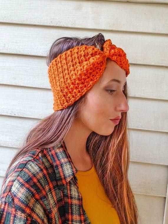 94cbf16a57e83 Crochet Headband Ear Warmer   Fall Bow Head Band   Knit Beanie