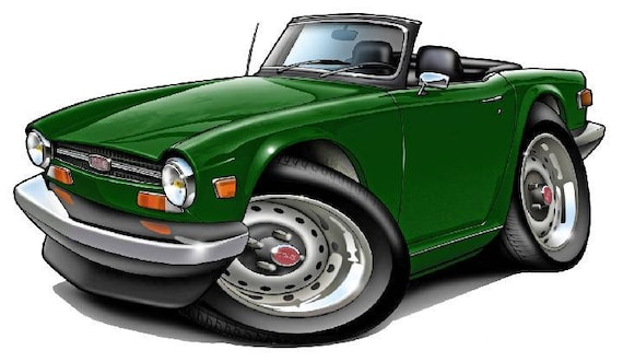 Triumph TR6 Caricature Retro Classic British Sports Car Art Print